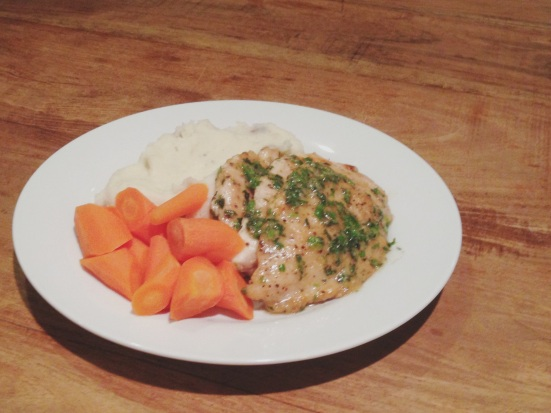 Chicken Cutlets with Herb Butter, Creamy Mashed Potatoes and Steamed Carrots.